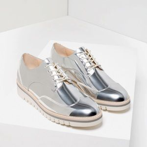Zara Silver Oxfords Platform Track Sole Brogues